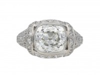 Art Deco cushion shape diamond ring berganza hatton garden