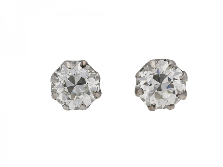 Old cut diamond stud earrings berganza hatton garden