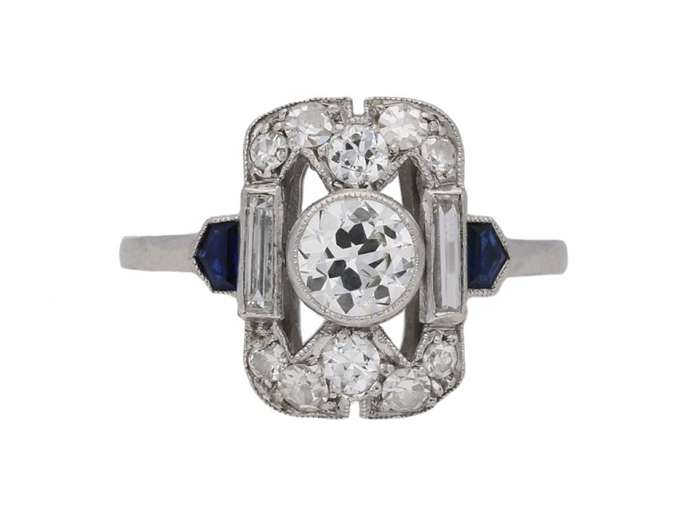 Art Deco diamond and sapphire cluster ring berganza hatton garden