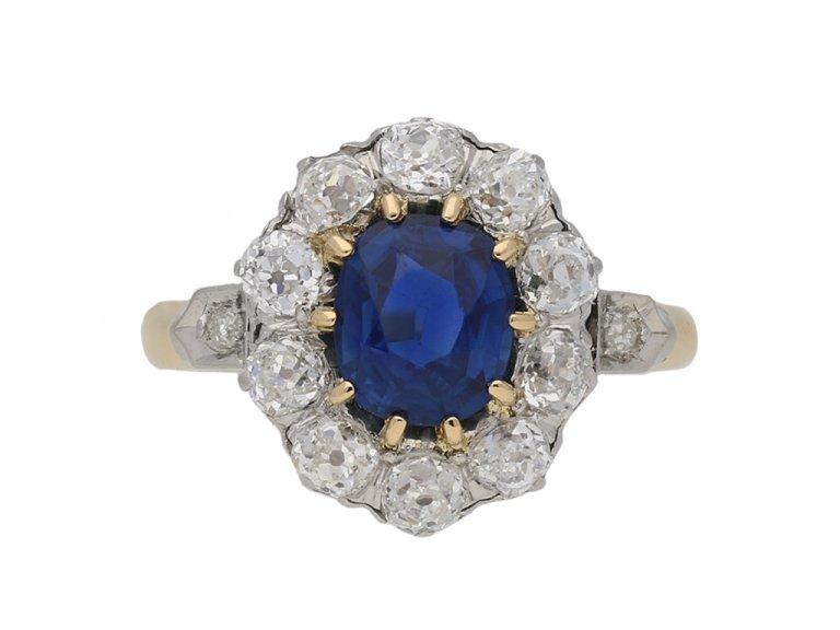 sapphire diamond coronet cluster ring berganza hatton garden