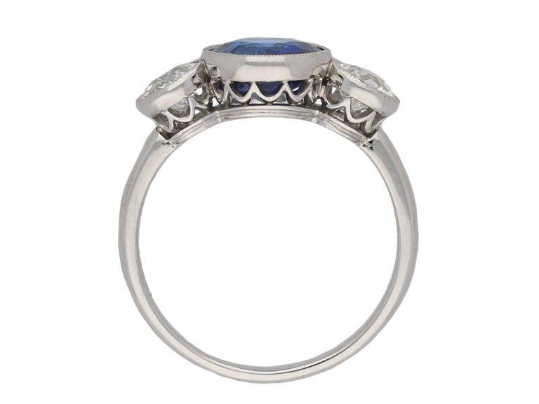 Ceylon sapphire diamond three stone ring berganza hatton garden