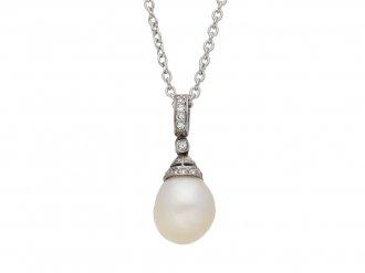 Edwardian natural pearl diamond pendant berganza hatton garden