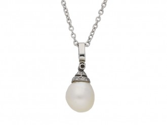 Edwardian natural pearl diamond pendant berganza hatton garden