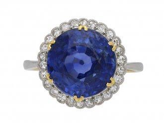 Ceylon sapphire diamond cluster ring berganza hatton garden