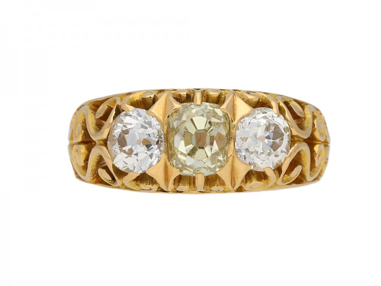 Antique diamond three stone ring berganza hatton garden