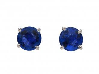 Art Deco sapphire stud earrings berganza hatton garden