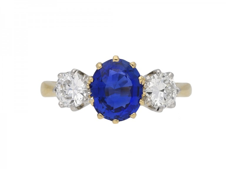 Three stone sapphire and diamond ring berganza hatton garden