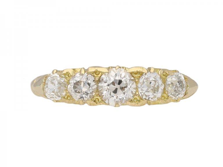 Five stone diamond carved ring berganza hatton garden