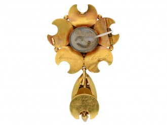 Victorian citrine and gold brooch, circa 1866. berganza hatton garden
