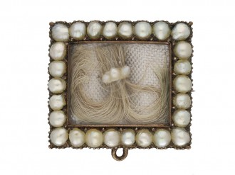 front view Georgian pearl hair brooch with locket back opening.circa 1770 berganza hatton garden