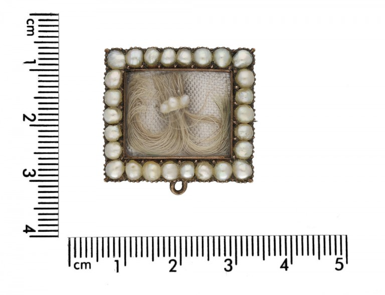 size view Georgian pearl hair brooch with locket back opening.circa 1770 berganza hatton garden