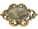 front view Victorian gold mourning brooch,