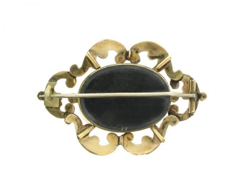 back view Victorian gold mourning brooch,