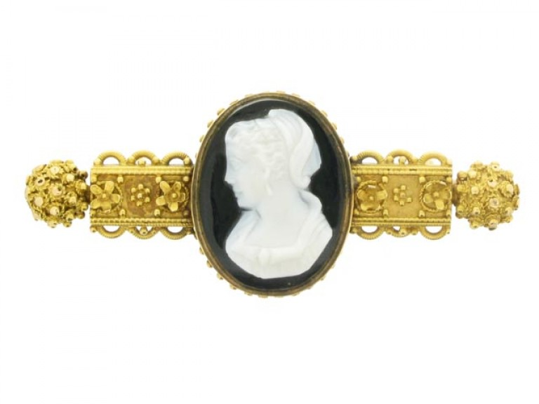 front view Hardstone cameo brooch, circa 1850.