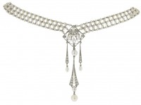 Belle Époque pearl and diamond sautoir