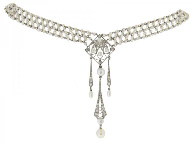 Belle Époque pearl and diamond sautoir