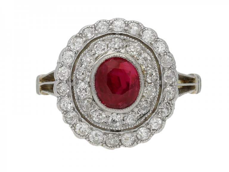 Antique natural Burmese ruby and diamond coronet cluster, circa 1905.