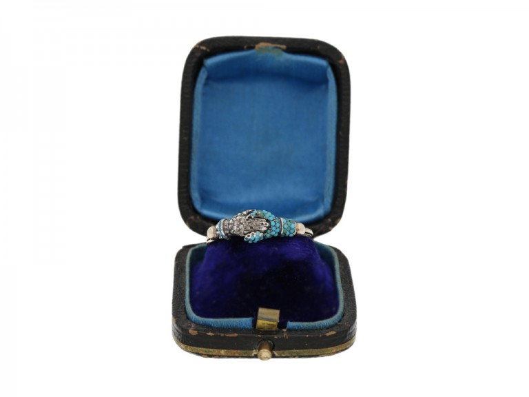 Georgian turquoise and diamond fede ring