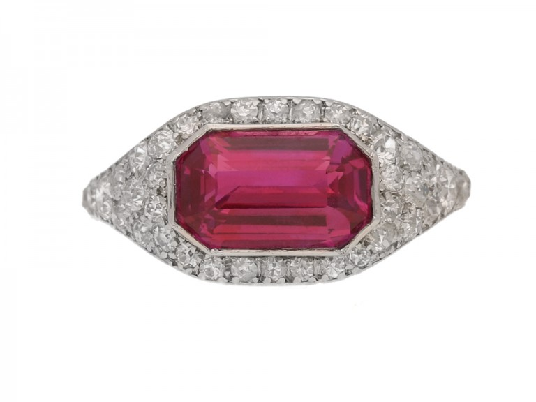 front view Art Deco ruby and diamond ring, circa 1920.