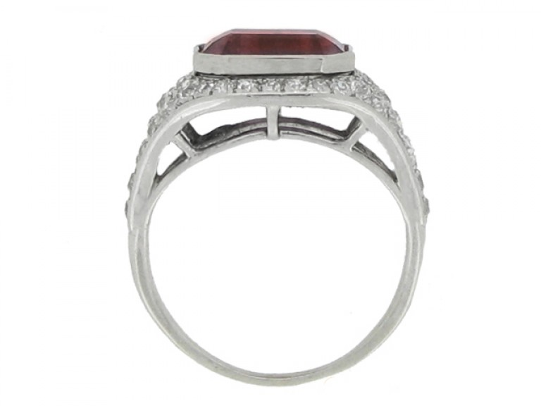 back view Art Deco ruby and diamond ring, circa 1920.