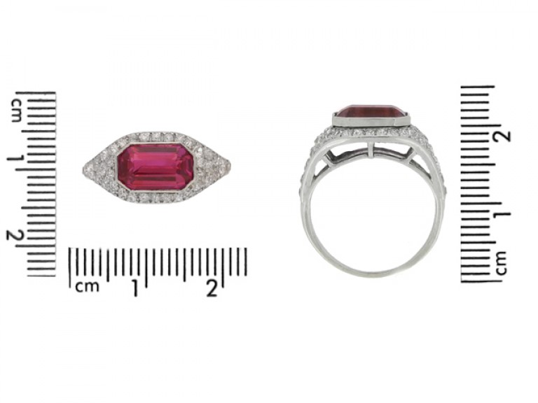 size view Art Deco ruby and diamond ring, circa 1920.