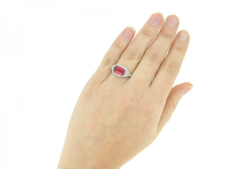 hand view Art Deco ruby and diamond ring, circa 1920.