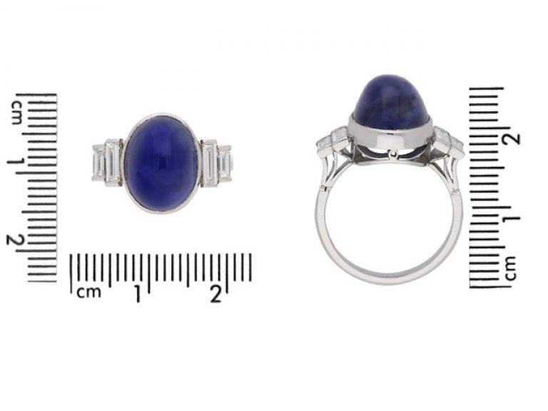 Art Deco cabochon natural Ceylon sapphire