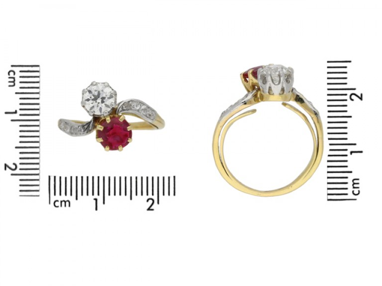 Ruby and diamond cross over ring, circa 1910.