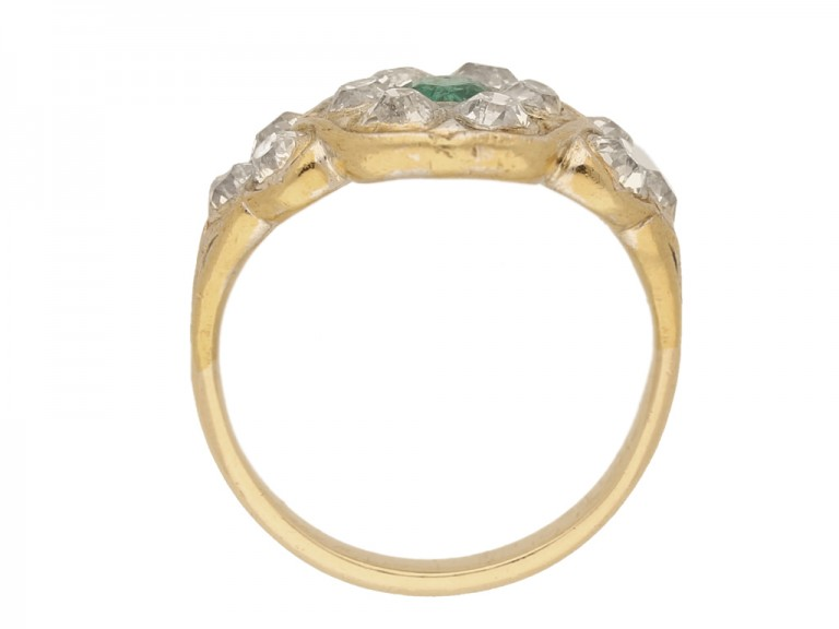 Antique emerald and diamond cluster ring, circa 1870.