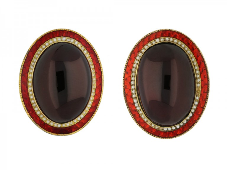 vintage garnet enamel gold earrings hatton garden berganza