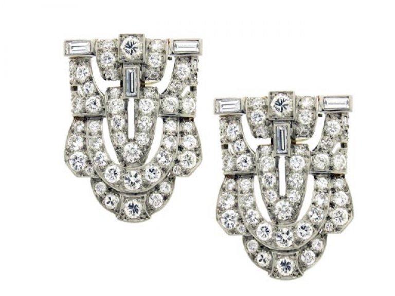 Diamond double clip platinum brooch