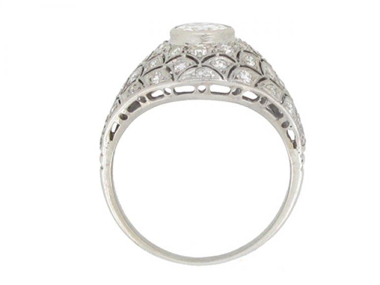 back view Bombé diamond cluster ring, circa 1930.