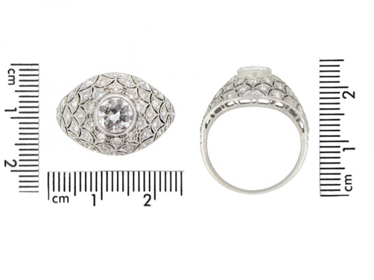 size view Bombé diamond cluster ring, circa 1930.