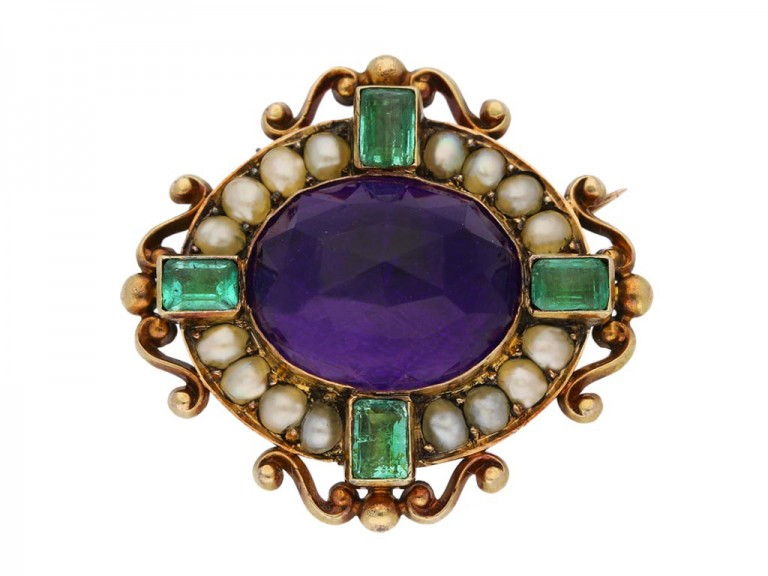 view antique amethsyt brooch Carlo Giuliano berganza hatton garden