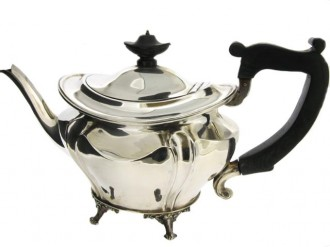 Art Nouveau silver tea pot, circa 1899.