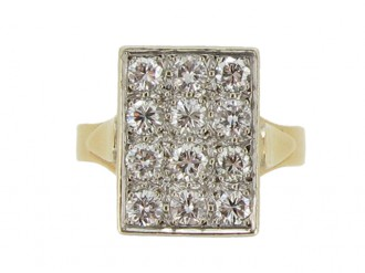front view Vintage diamond plaque ring, French circa 1950.