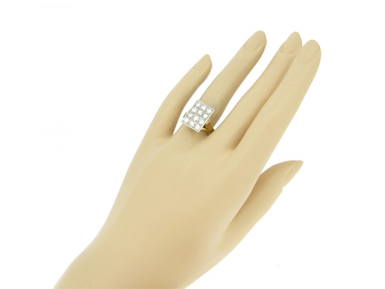 hand view Vintage diamond plaque ring, French circa 1950.