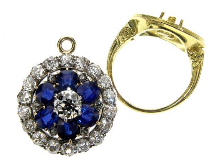 Antique Sapphire and Diamond coronet cluster ring/pendant, circa 1880. berganza hatton garden