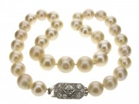 South Sea cultured pearl necklace with diamond clasp, circa 1935.