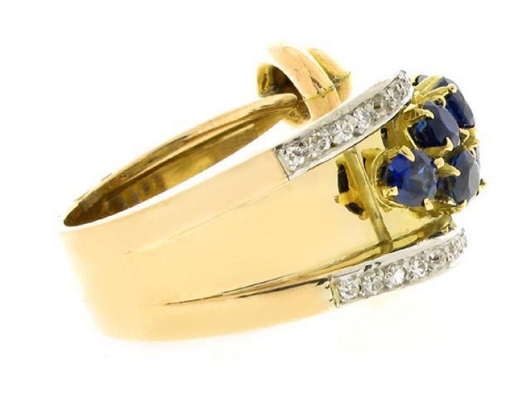 side view Sapphire and diamond cocktail ring,