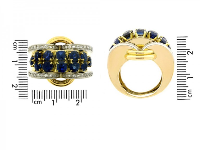 size view Sapphire and diamond cocktail ring,