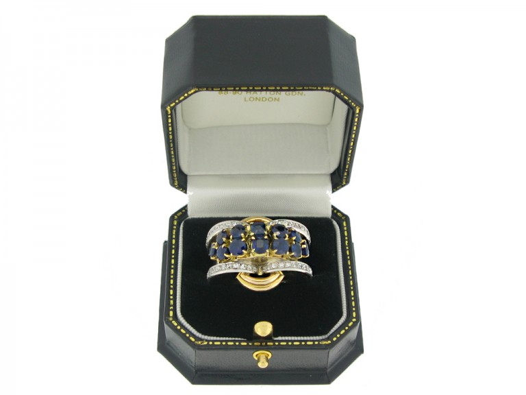 boxed view Sapphire and diamond cocktail ring,