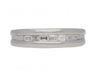 Platinum and diamond half eternity ring