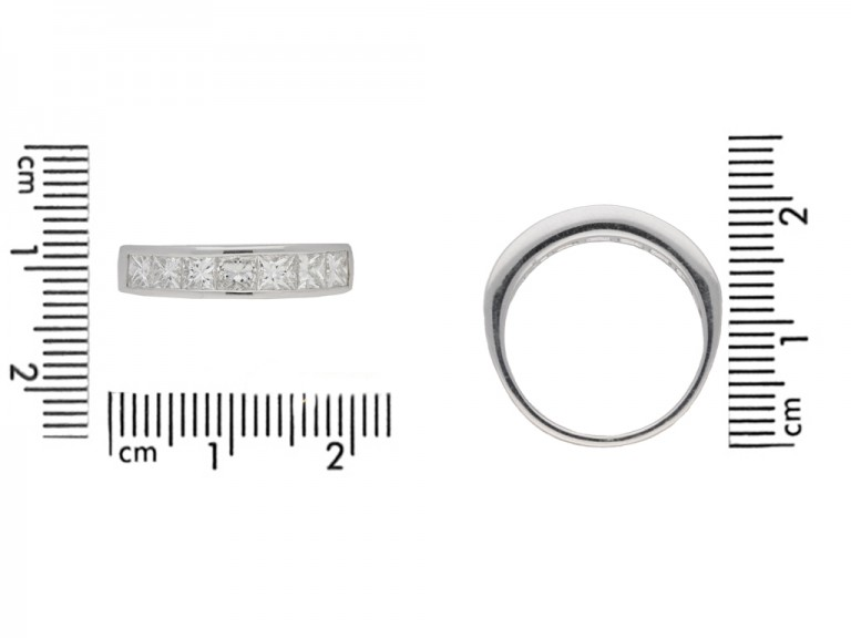 Princess cut diamond eternity ring in platinum.