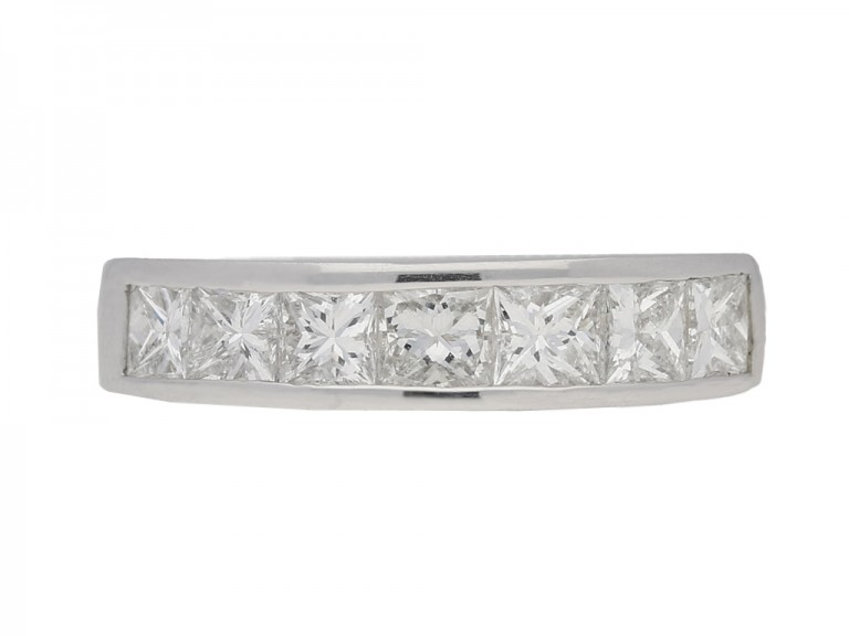 Princess cut diamond eternity ring in platinum.