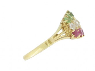 front view Antique ruby, diamond and demantoid garnet ring, circa 1900.