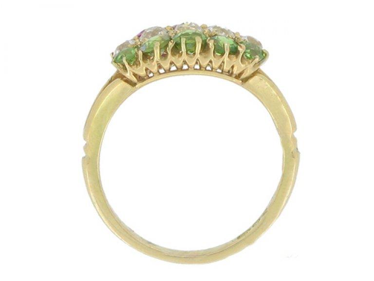 back view Antique ruby, diamond and demantoid garnet ring, circa 1900.