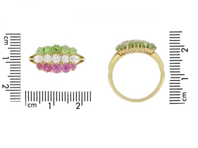 siz eview Antique ruby, diamond and demantoid garnet ring, circa 1900.