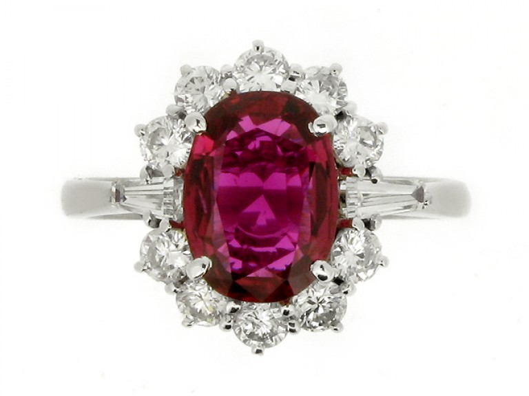 front view Ruby and diamond coronet cluster ring, circa 1970.