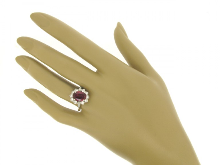 hand view Ruby and diamond coronet cluster ring, circa 1970.